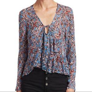NWOT IRO Gosh V neck ruffle blouse sz 34 (2)